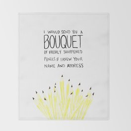 You've Got Mail- Bouquet of Freshly Sharpened Pencils Throw Blanket