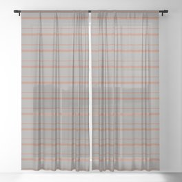 Cavern Clay Warm Terra Cotta SW 7701 Horizontal Line Patterns 3 on Slate Violet Gray Sheer Curtain