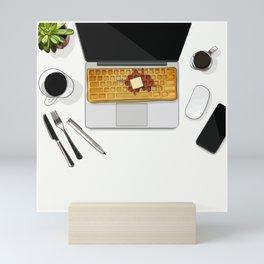 Waffle Laptop Computer Flat Lay Mini Art Print