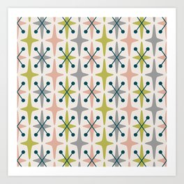 Mid Century Modern Abstract Star Pattern 222 Teal Chartreuse Dusty Rose and Gray Art Print