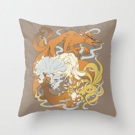 Kitsune group Throw Pillow