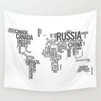 atlas Wall Tapestries featuring World Map - Atlas by Rothko