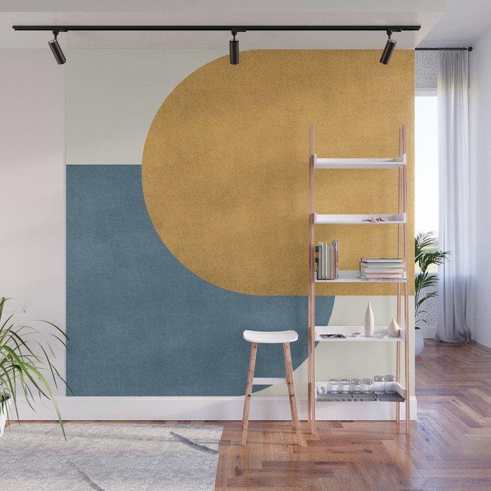 Wall Mural | Halfmoon Colorblock - Gold Blue by Moonlightprint - 8' x 8' - Society6