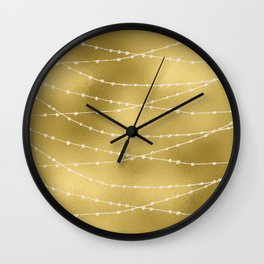 Merry christmas- white winter lights on gold pattern Wall Clock