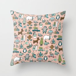 Pink Christmas Print, Christmas Illustration Pattern, Cute Holiday Decor, Holly Jolly Holidays Throw Pillow