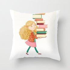 Library Girl 2 Throw Pillow