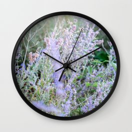 Floral Lavender | Botanical fine art nature photography print | Pastel tones Wall Clock