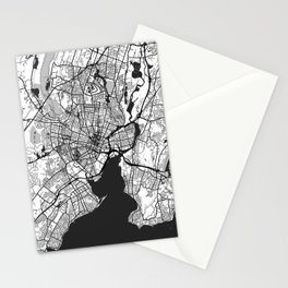 New Haven Map Gray Stationery Cards