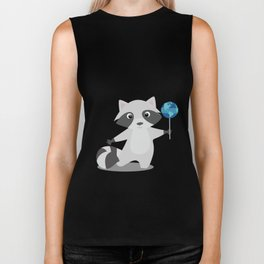 Earth Sweet Earth - Lovely Raccoon Lollipop Biker Tank