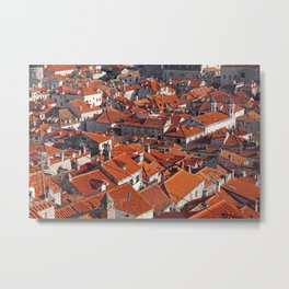 Dubrovnik rooftops viewed from he old town fortified walls. Metal Print