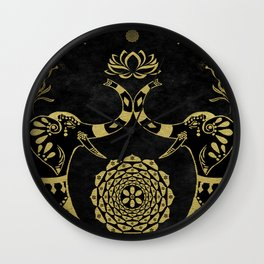 Lotus Flower Elephants Mandala Gold & Black Wall Clock