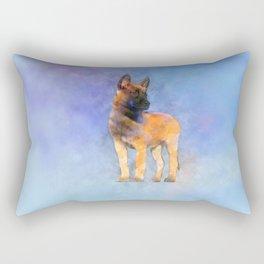 Belgian Malinois Puppy Painting - Mechelaar Rectangular Pillow