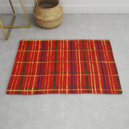 Squares On Red Background Japanese Shima-Shima Pattern Rug
