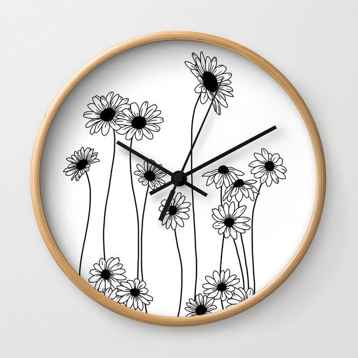 Minimal line drawing of daisy flowers Wall Clock