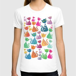 Multi colored cats T-shirt