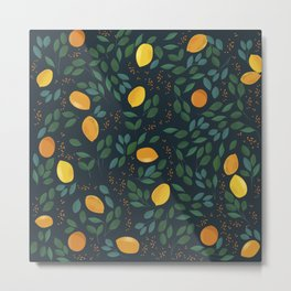Yellow lemon hand drawn vintage illustration pattern Metal Print