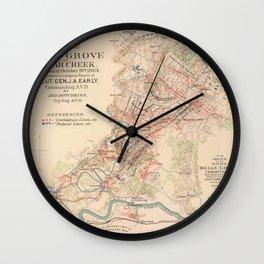 Vintage Map of Cedar Cree Battlefield (1890) Wall Clock