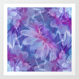 Abstract Dahlia fractal Art Print