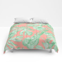 Tropical Palm Leaves Hibiscus Flowers Coral Green Comforters