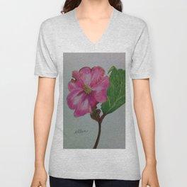 Japanese camellia, camellia, botanical art, flower, pink flower, Unisex V-Neck