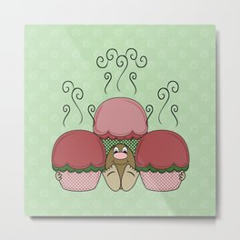 Cute Monster With Red And Green Frosted Cupcakes Metal Print