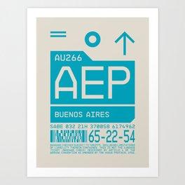 Baggage Tag C - AEP Buenos Aires Argentina Art Print