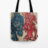 foo fighters Tote Bags featuring Foo Dogs by Easley