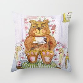 Hazel, tea time bear Throw Pillow