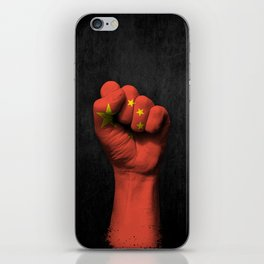 Chinese Flag on a Raised Clenched Fist iPhone Skin