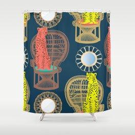 Rattan Cheetah Chairs + Mirrors Shower Curtain
