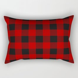 Red and black squares plaid print Rectangular Pillow