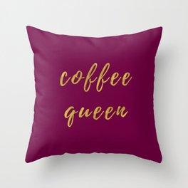 Coffee Queen-Bordeaux | Digital Art | Quotes Throw Pillow