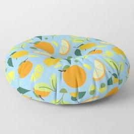 Citrus Fruits - Orange and Lemons on Blue Floor Pillow