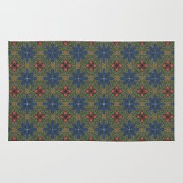 blue and red flowers Rug