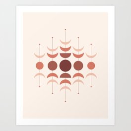 Moon Phases in Terracotta Color Shades Art Print