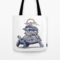 discworld Tote Bags featuring The discworld by Aya Rosen