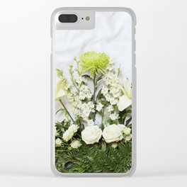 Green and Cream Flowers Clear iPhone Case