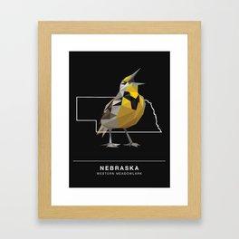 Nebraska – Western Meadowlark (Black) Framed Art Print