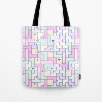 tetris Tote Bags featuring Kawaii Tetris by KiraKiraDoodles