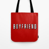 boyfriend Tote Bags featuring My Boyfriend by Travis Love