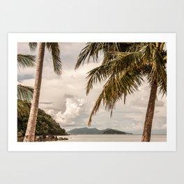 Beach theme, palm trees on tropical island Art Print