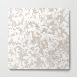 Leaves Pattern Beige and White Metal Print