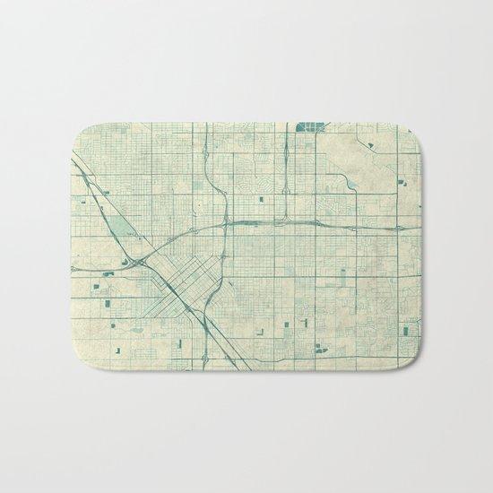 Fresno Map Blue Vintage Bath Mat