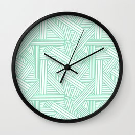 Sketchy Abstract (Mint & White Pattern) Wall Clock