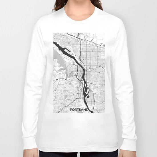 Portland Map Gray Long Sleeve T-shirt