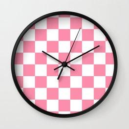 Checkered - White and Flamingo Pink Wall Clock