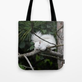Sleeping Lily the beautiful White Albino Squirrel Tote Bag
