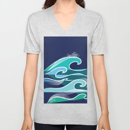 Simple Ocean Waves Pattern Contemporary Blues Unisex V-Neck