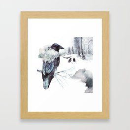 Cryptical Crows In The Whispering Winter Woods Framed Art Print