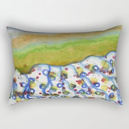 Curved Hill with Blue Rings Rectangular Pillow